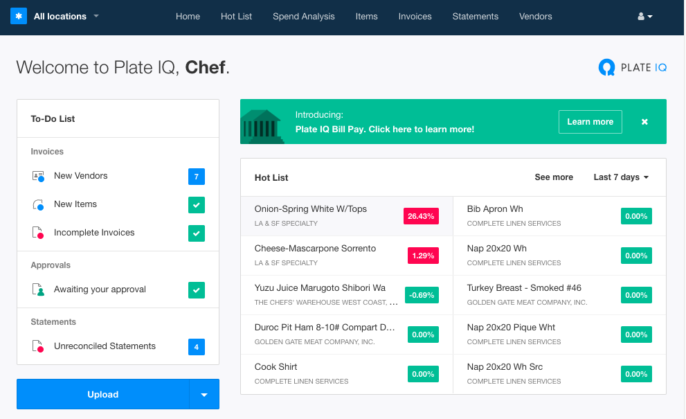 The Plate IQ Dashboard with Hot List provides immediate information about vendor price changes when logging in.
