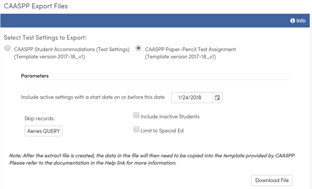 Special Education Information for Testing : Aeries Software