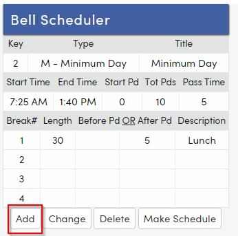 Create a New Bell Schedule : Aeries Software