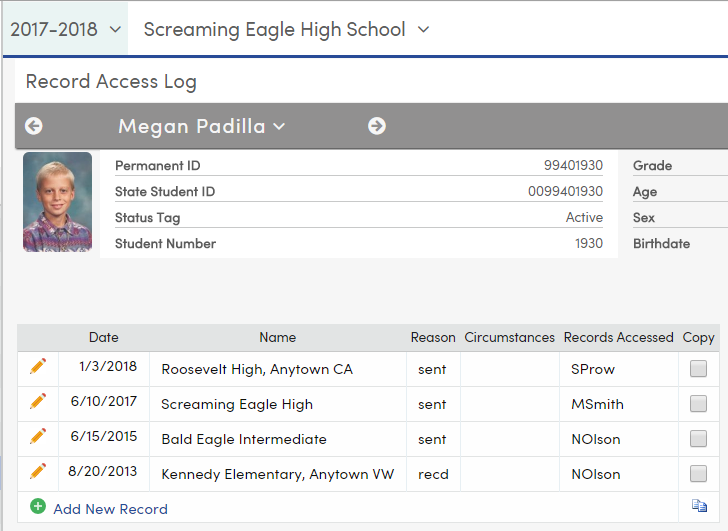 Record Access Log - Tracking Student Cumulative Folder Data