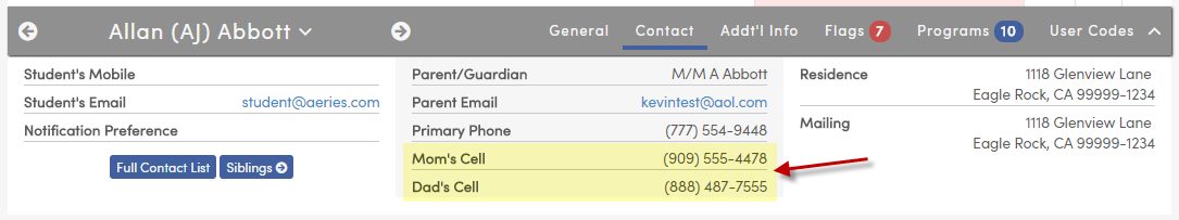 Contact phone numbers in student information bar