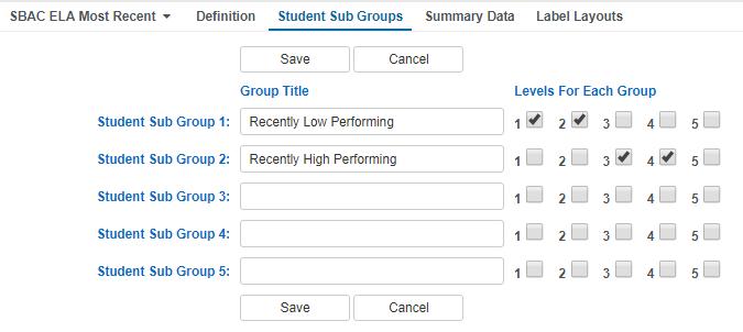 Analytics Student Sub Groups tab