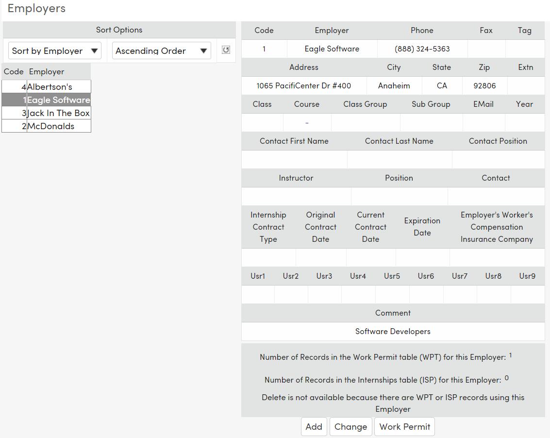 Work Permits - Add Employer Information : Aeries Software