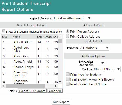 Printing Transcripts Aeries Software