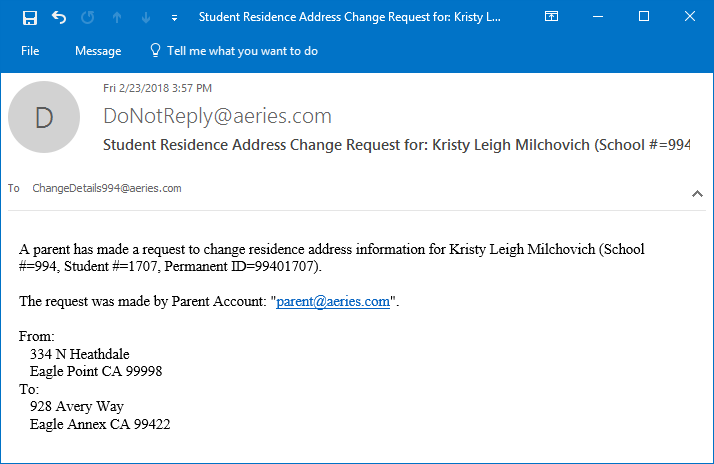 Address change request email to staff