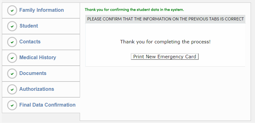 Final data confirmation step