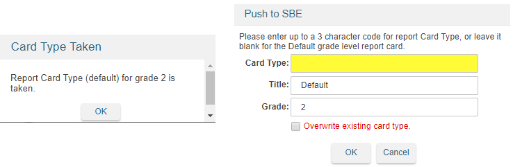 Standard Based Report Card Template - Overwrite existing card type message