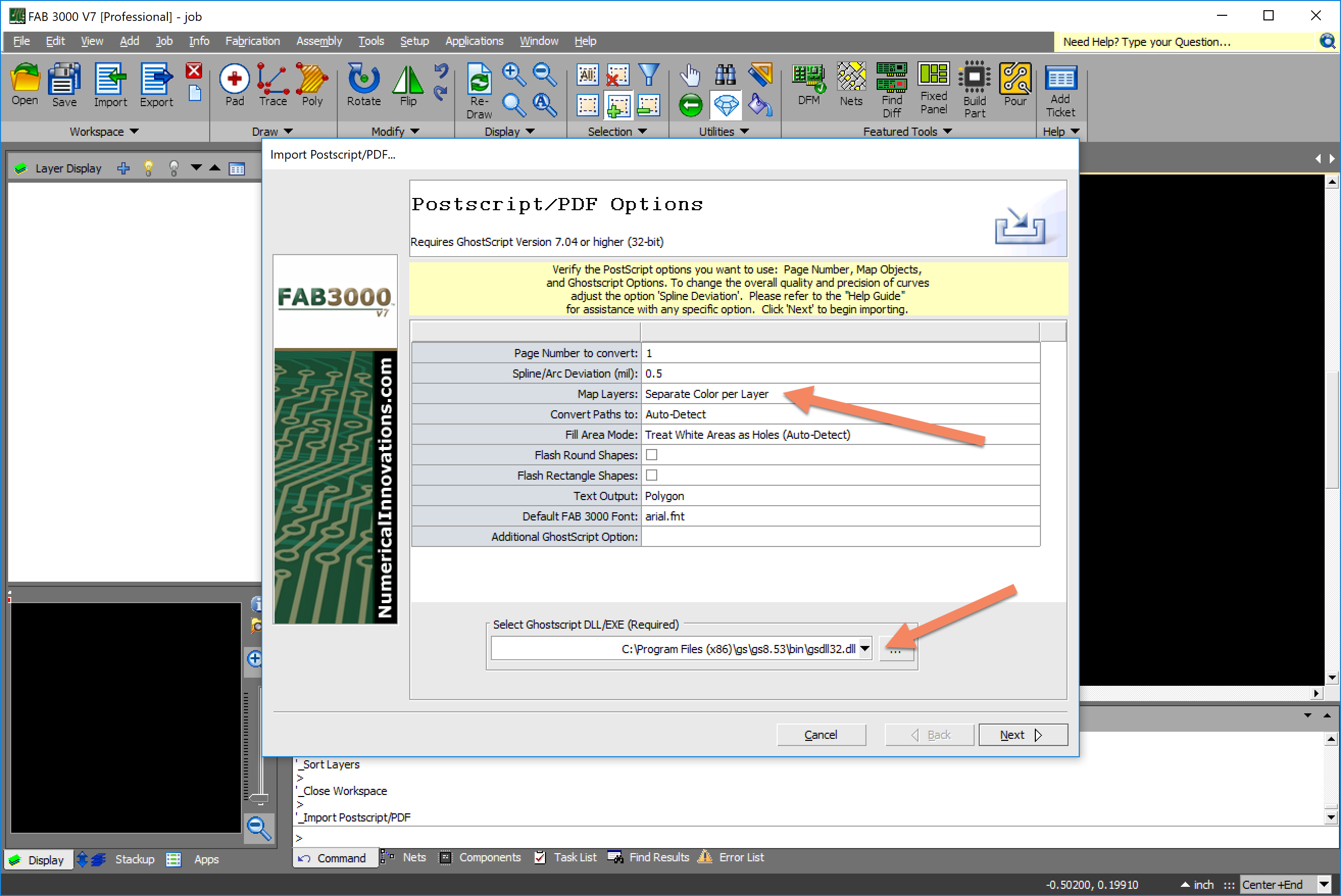 I am having problems importing my pdf files into FAB3000