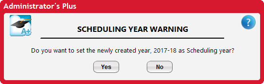 Scheduling Year Warning