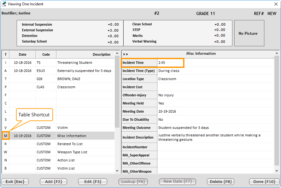 Misc Info Table Shortcut
