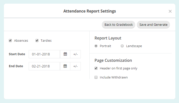 Class Attendance Report Settings