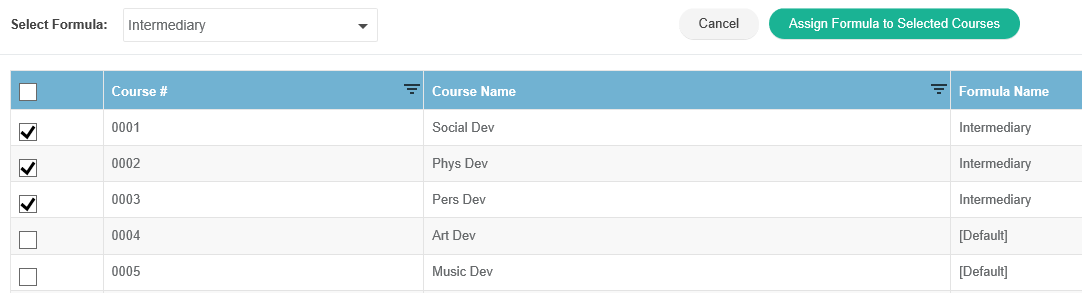 Assign Formula to Selected Courses