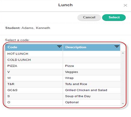 Gradebook Lunch Count Order