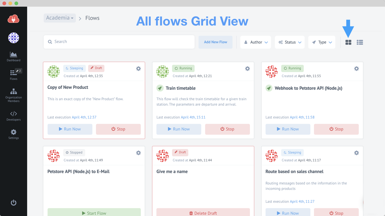 Announcing a separate page for flows : elastic io