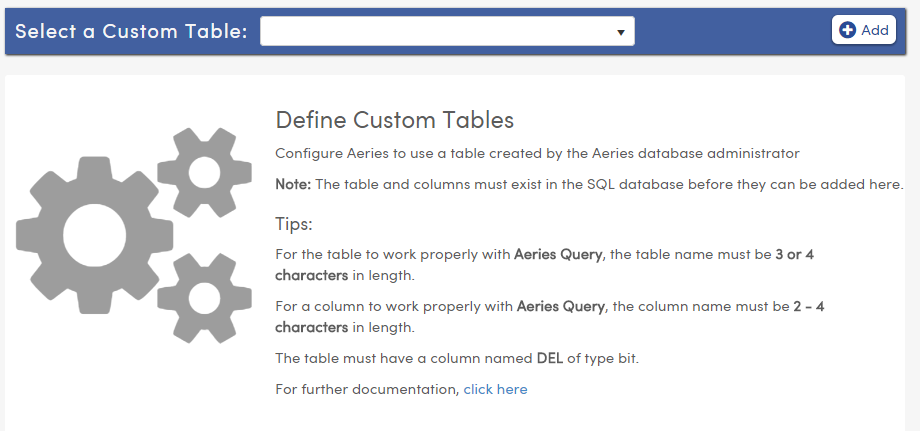 Define Custom Tables Aeries Software