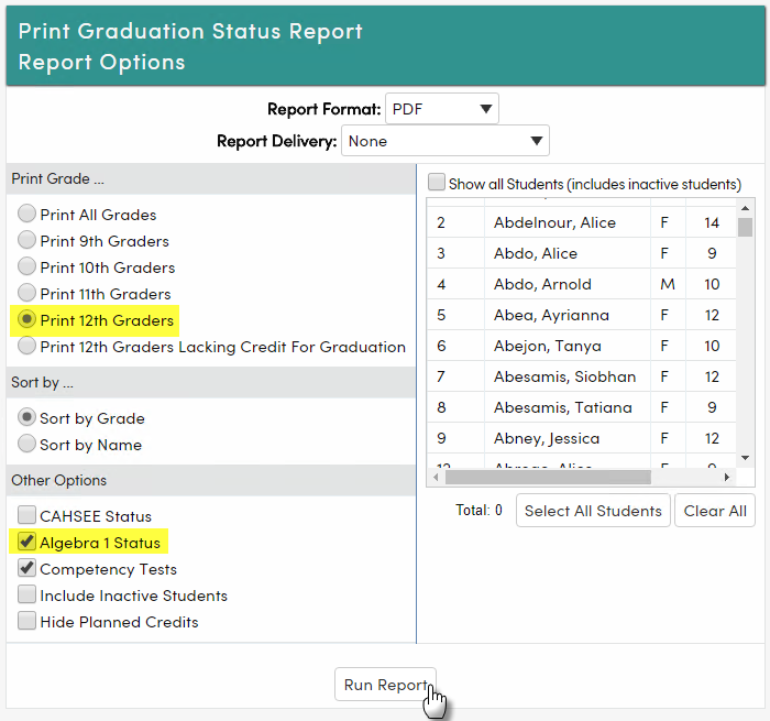 Graduation Status Report Options-California