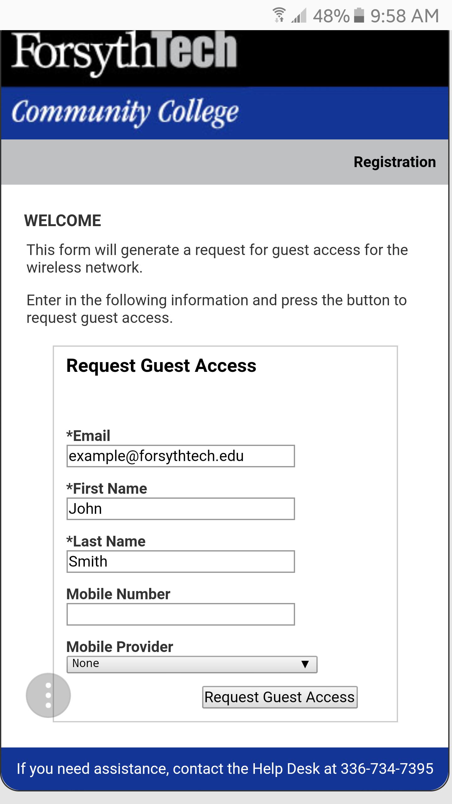 request guest access