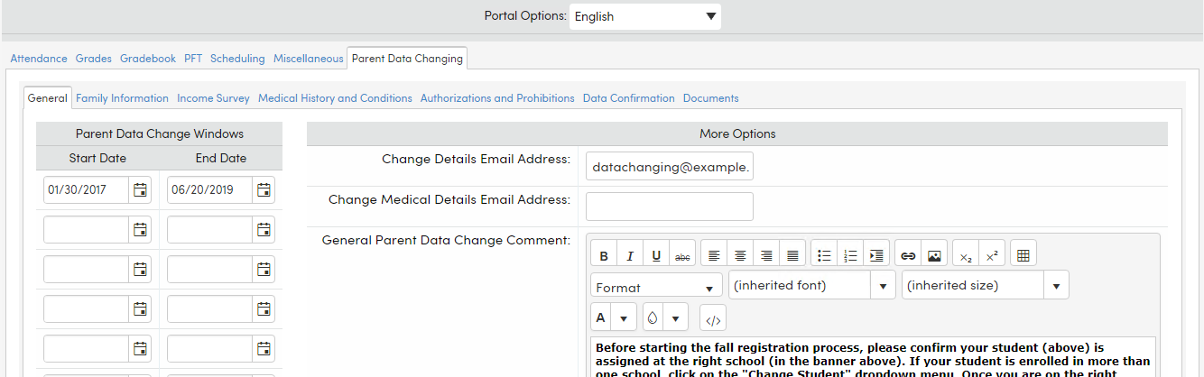 Parent Data Confirmation Setup Aeries Software