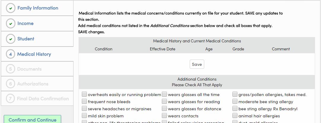 Medical tab displayed in portal