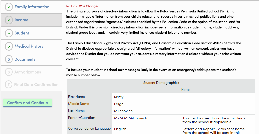 Student demographic tab