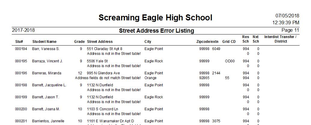 street address error listing aeries software