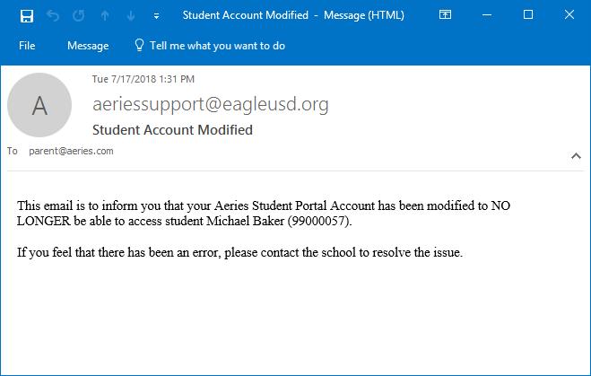 Managing Parent/Student Portal Accounts : Aeries Software
