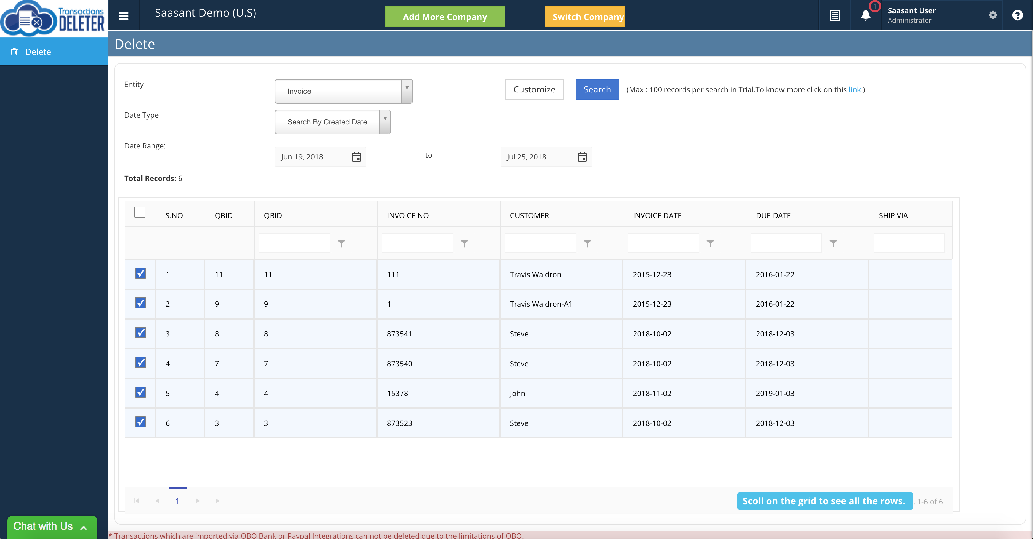 Delete transactions in QuickBooks Online