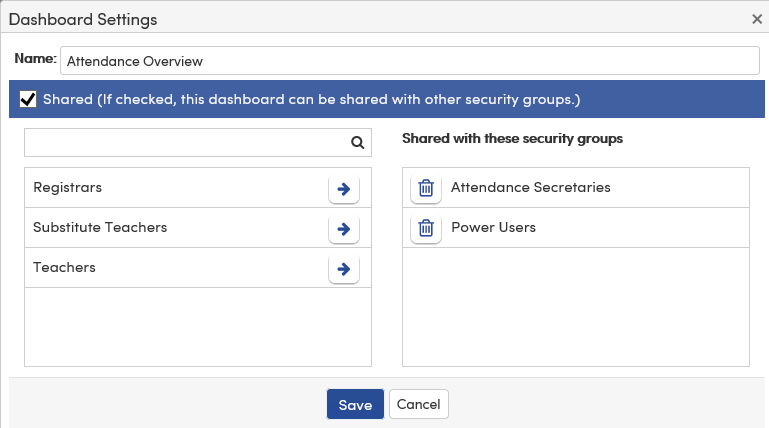 Analytics Dashboard Settings button