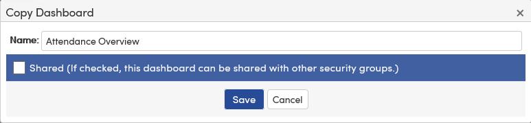 Analytics Dashboard Copy button