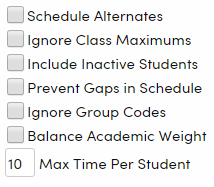 Scheduling Options checkboxes
