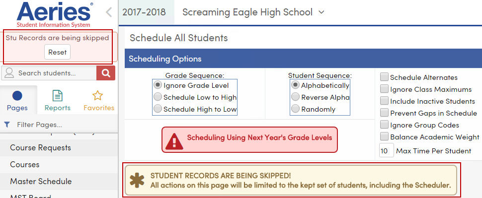 Stu Records are being skipped message