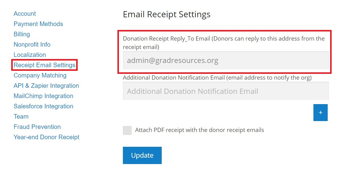 does donorbox send donation receipts donorbox
