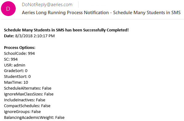 Scheduling Complete Email message