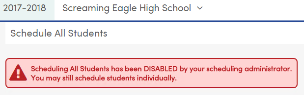 Scheduling All Students locked message