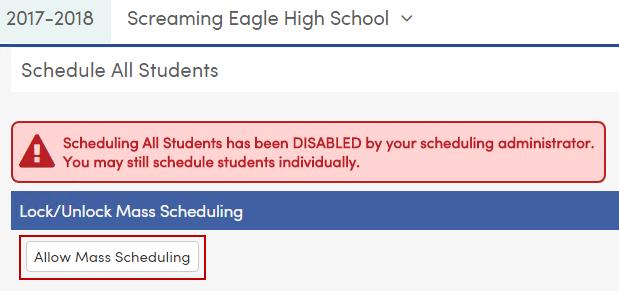 Allow Mass Scheduling button