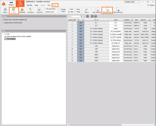 Instructions on how to set up an Excel template with 3D