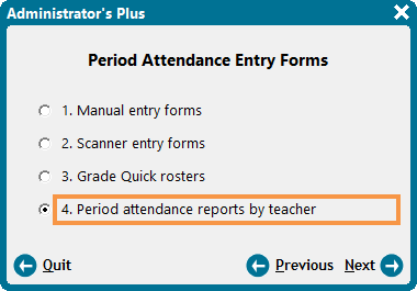 Period Attendance Entry Forms