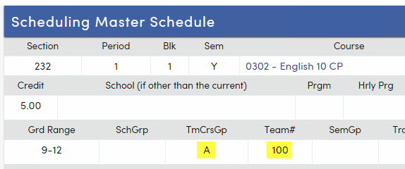 TmCrsGp and Team# fields on Scheduling Master