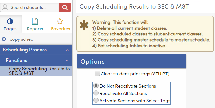 Clear Student Print Tags (STU.PT) options