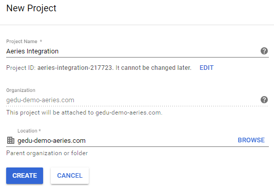 Configure Aeries Integration Project in Google API Console : Aeries