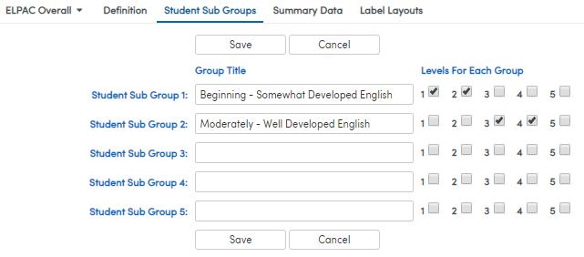 Student Sub Groups setup screenshot