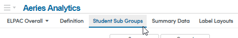 Student Sub Groups screenshot