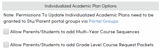 Portal Options checkboxes to allow parents and students to add Course sequences and course packets
