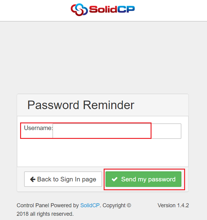 How to use Forgot Password option in SolidCP : Exabytes SG