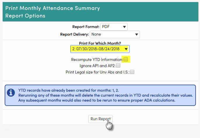 monthly attendance summary report ada reporting aeries software