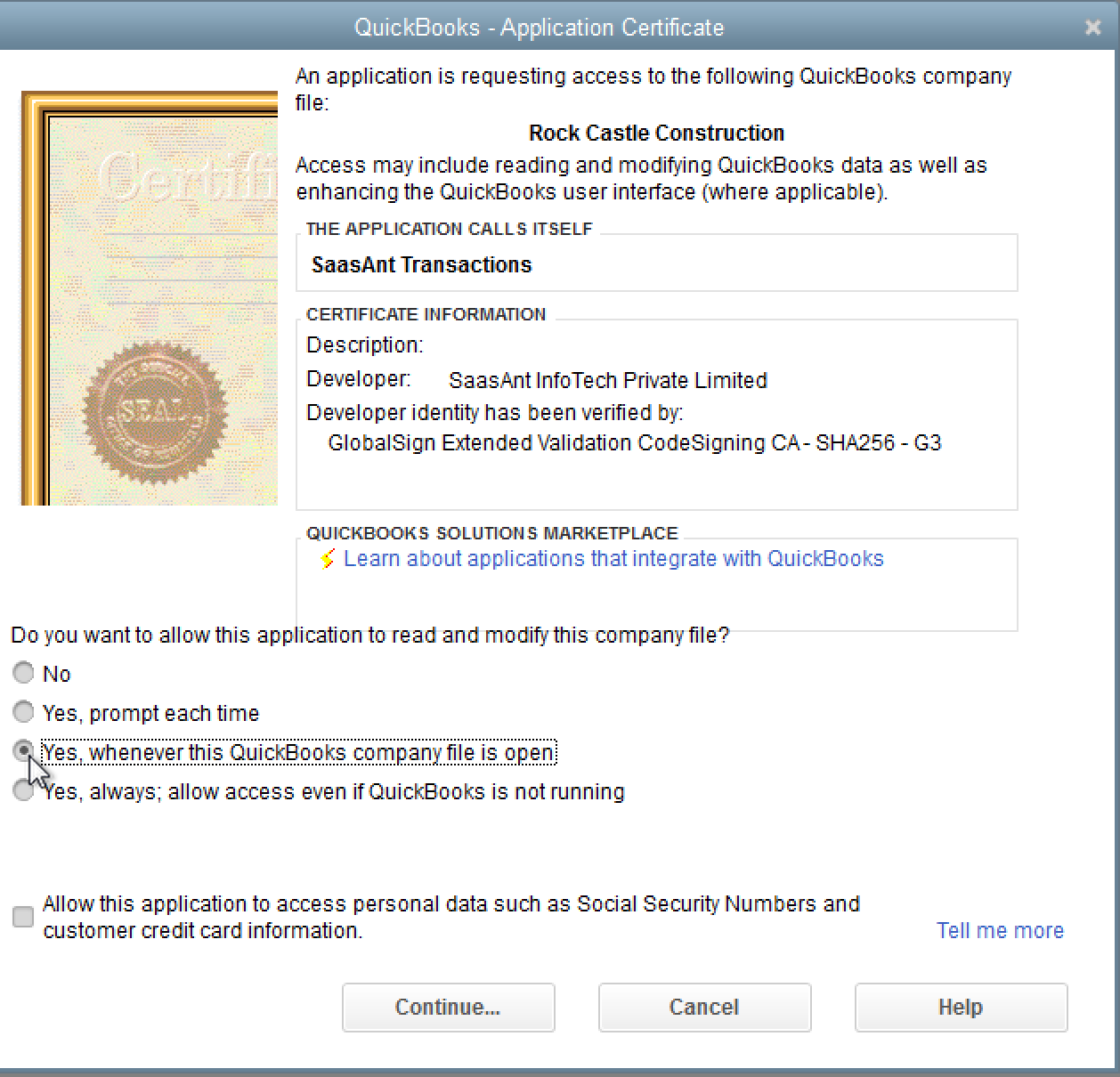 SaasAnt Transactions (Desktop) quickbooks certification