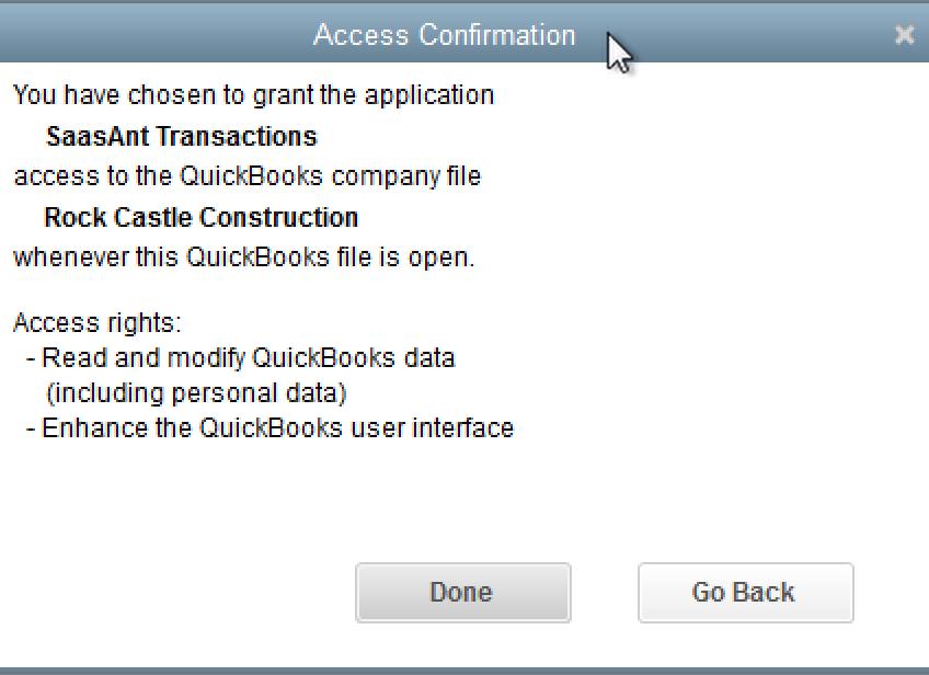SaasAnt Transactions (Desktop) access confirmation