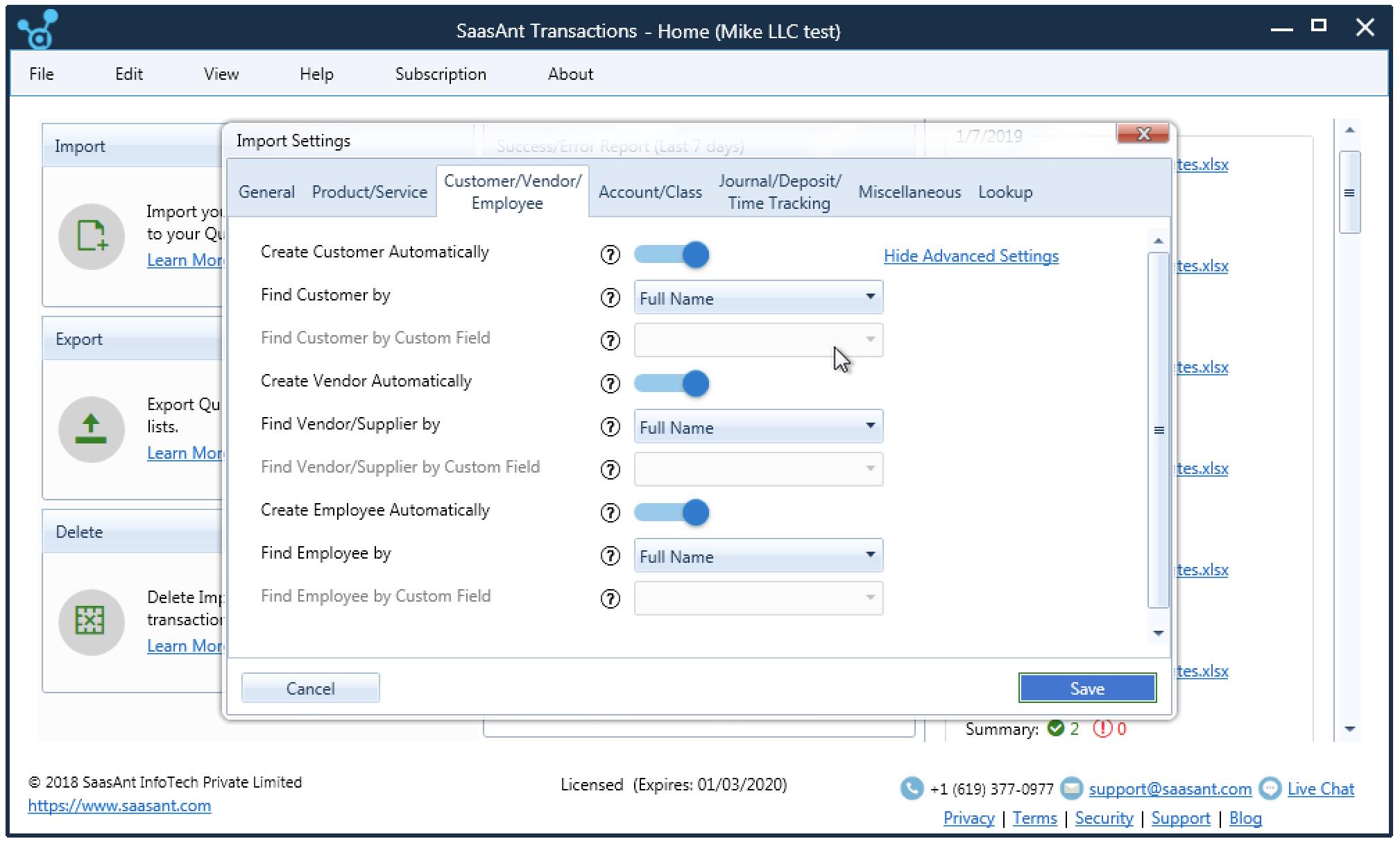 customer/vendor/employee import settings