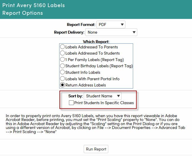 Avery 5160 Labels : Aeries Software