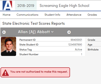State Test Scores Reports - Not authorized error message